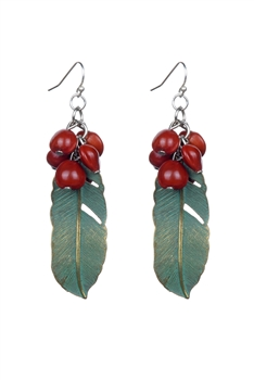 Bohemian Ethnic Women Acacia Leaf Drop Earrings E2215