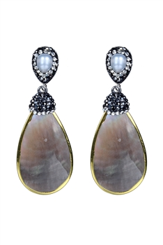 Fashion Women Pearl Gemstone Stud Earrings E2232