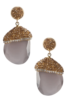Fashion Luxurious Crystal Gemstone Statement Earrings E2234 - Grey
