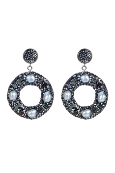 Hollow Circle Pearl Earrings E2256