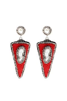 Triangle Pearl Dangle Earrings E2260 - RED