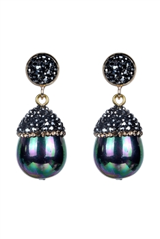 Fashion Women Oval Pearl Crystal Earrings E2261 - Black