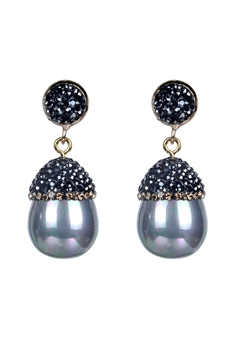 Fashion Women Oval Pearl Crystal Earrings E2261 - Grey