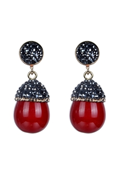 Fashion Women Oval Pearl Crystal Earrings E2261 - Red