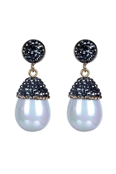 Fashion Women Oval Pearl Crystal Earrings E2261 - White