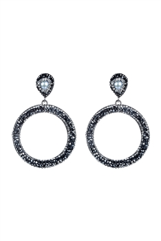 Fashion Pearl Crystal Round Hoop Earrings E2263