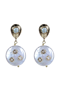 New Design White Pearls Metal Earrings E2265