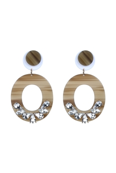 Fashion Crystal Hoop Tortoiseshell Earrings E2278 - Grey