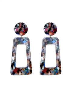 Special Square Tortoiseshell Statement Earrings E2280