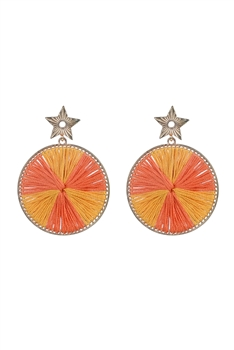 Fashion Women Round Silk Statement Earrings E2295