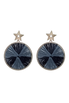 Fashion Women Round Silk Statement Earrings E2295 - Black