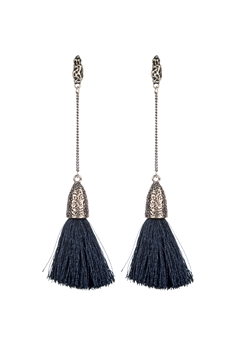 Bohemian Women Tassel Dangle Long Earrings E2297 - Black