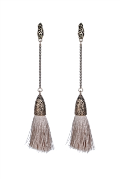 Bohemian Women Tassel Dangle Long Earrings E2297 - Champagne