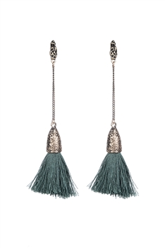 Bohemian Women Tassel Dangle Long Earrings E2297 - Green