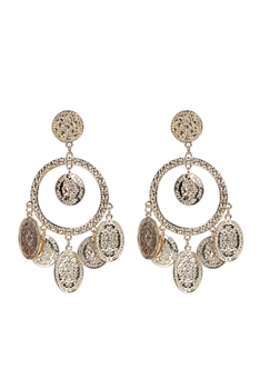 Fashion Women Gold Metal Medal Dangle Earrings E2305