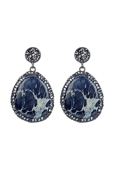 Ocean Jasper Stone Earrings E2310 - Black