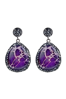 Ocean Jasper Stone Earrings E2310 - Purple