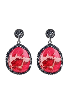 Ocean Jasper Stone Earrings E2310 - Red