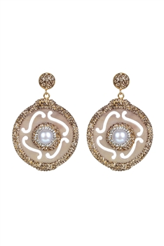 Circle Drop Crystal Earrings-E2312