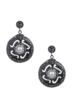 Circle Drop Crystal Earrings-E2312 - Black