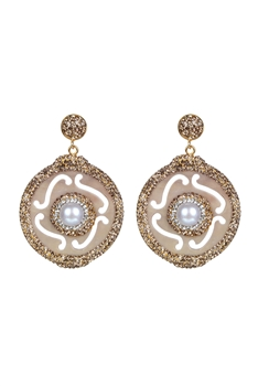 Circle Drop Crystal Earrings-E2312 - Gold