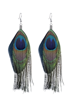 Peacock Feather Drop Earrings E2315 - Black