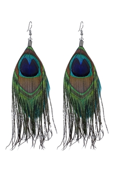 Peacock Feather Drop Earrings E2315 - Green