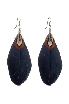 Simple Feather Earrings E2316 - Black