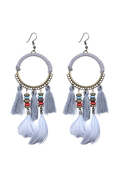 Bohemian Feather Tassel Earrings E2317 - Grey