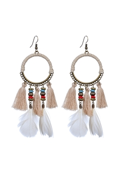 Bohemian Feather Tassel Earrings E2317 - Beige