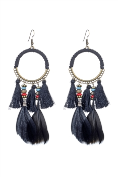 Bohemian Feather Tassel Earrings E2317 - Black