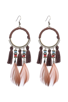 Bohemian Feather Tassel Earrings E2317 - Brown