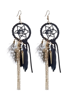 Bohemian Feather Tassel Earrings E2318