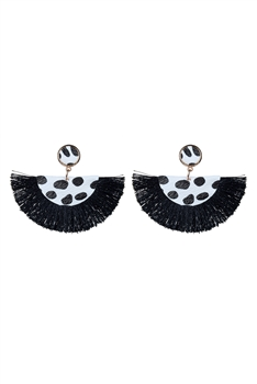 Women Sector Tassel Earrings E2321 - Black