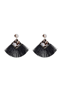 Tortoiseshell Tassel Fashion Earrings E2324 - Black