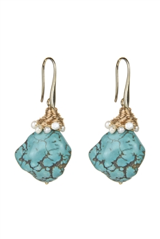 Turquoise Dangle Gold Thread Twine Earrings E2342