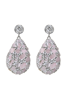 Teardrop Crystal Natural Stone Drop Earrings E2348