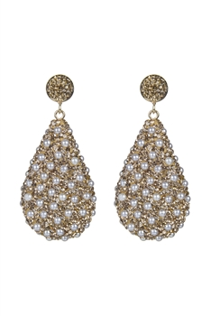 Teardrop Crystal Natural Stone Drop Earrings E2348 - Champagne Pearl
