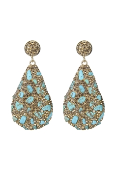 Teardrop Crystal Natural Stone Drop Earrings E2348 - Champagne Turquoise