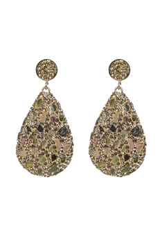 Teardrop Crystal Natural Stone Drop Earrings E2348 - Tourmaline