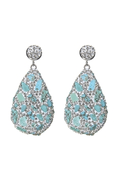 Teardrop Crystal Natural Stone Drop Earrings E2348 - White Turquoise
