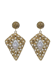 Noble Crystal Stone Earrings E2352 - Champagne Pearl
