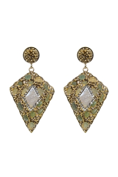 Noble Crystal Stone Earrings E2352 - Green Aventurine
