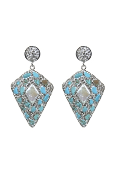 Noble Crystal Stone Earrings E2352 - White Turquoise
