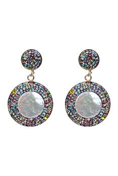 Color Crystal Pearl Drop Earrings E2358