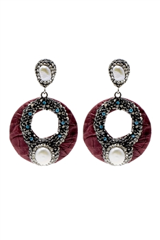 Hollow Circle Pearl Earring E2372 - RED