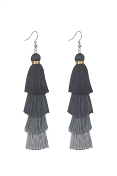 Bohemian Multi-layer Tassel Earrings E2380 - Black