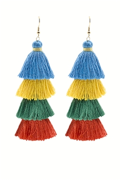 Bohemian Multi-layer Tassel Earrings E2380 - Blue