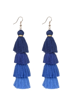 Bohemian Multi-layer Tassel Earrings E2380 - Navy Blue