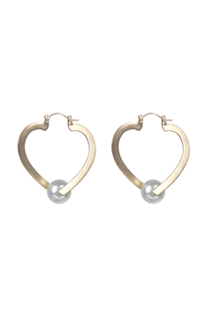 Heart Shaped Pearl Earrings E2388 - Gold